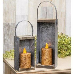 Set of 2 Rustic Galvanized Metal Candle Boxes